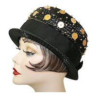 Vintage Black Straw Derby Hat With Goldtone Beads