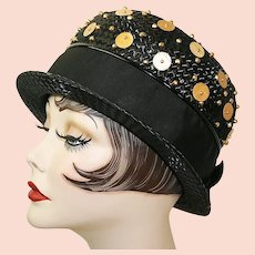 Vintage Black Straw Derby Hat With Goldtone Beads