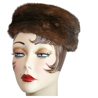 Classic 1940s Pillbox Fur Hat