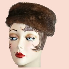 Classic 1940s Pillbox Mink Hat