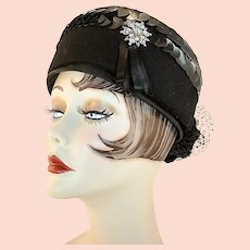 Vintage Black Felted Wool Pillbox Hat With Sequins and A Rhinestone Snowflake Accent