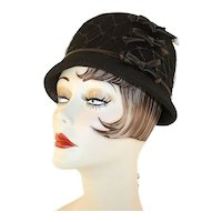 Vintage Black Felted Wool Hat With Black Netting and Dark Brown Ribbon and Bows