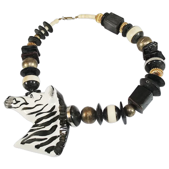Vintage Ceramic Zebra Statement Necklace Zebra Necklace
