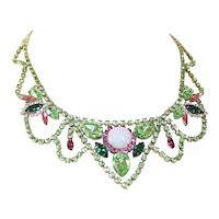 Vintage Rhinestone Statement Bib Festoon Necklace
