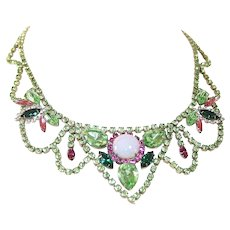 Vintage Rhinestone Statement Bib Festoon Necklace
