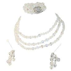 Sparkly Vintage Crystal Necklace Bracelet Earring Set