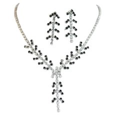 Elegant Vintage Black and Clear Rhinestone Necklace and Earring Set