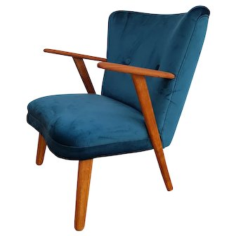 Danish armchair, velour, 60's, completely restored