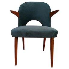 Danish armchair, velour, teak wood, 60's, completely restored