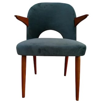Danish armchair, velour, teak wood, 60's, completely restored