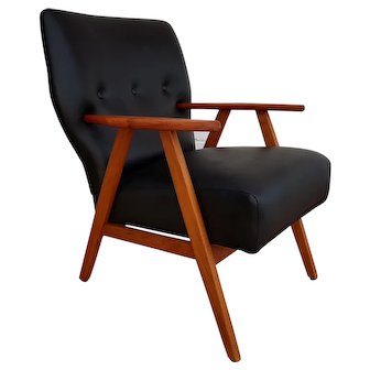 Danish designed armchair, 60's, teak wood, leather, completely restored