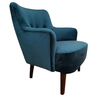 Danish designed armchair, velour, 70's, completely restored