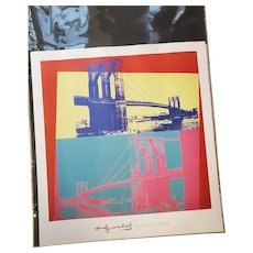 Andy Warhol Foundation Vintage Lithograph Print Poster of Brooklyn Bridge 1983