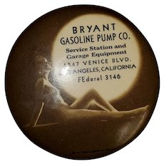 BRYANT Gasoline Pump Co. 1936 Nude Woman Under Moon Compact Mirror-Venice Blvd. FEderal 3146
