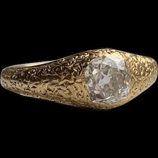 18k 1.00ct Antique Old Mine Cut Diamond Ring Hand Engraved circa 1856