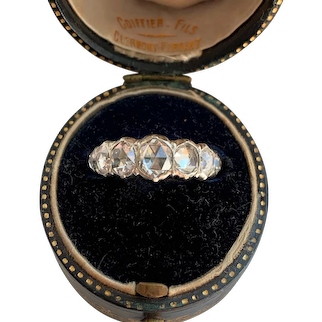 Incredible 18k White Gold Rose Cut Diamond Half Loop Ring
