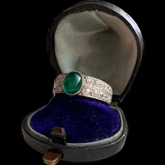 Gorgeous Natural Emerald Cabochon Old Cut Diamond 950 Palladium Engagement Ring