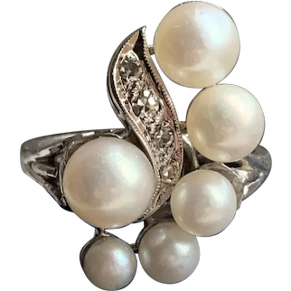 Fantastic Cultured Pearl 14k White Gold & Diamond Cocktail Ring