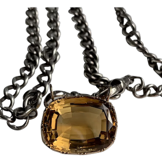 Wonderful Late Georgian Citrine Brooch Conversion with Silver Watch Chain
