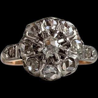 Lovely Platinum Topped 18k Gold Rose Cut Diamond Ring