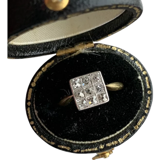 Vintage Art Deco 18k 0.6ct Old Mine Cut Diamond Cluster Ring