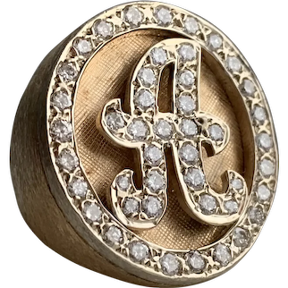 """Awesome Vintage Diamond Initial """"A"""" 14k Signet Ring"""