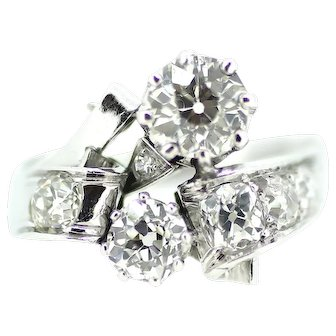 British Art Deco Diamond Cluster Cocktail Ring