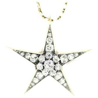 Victorian Masonic Eastern Star Diamond Pendant