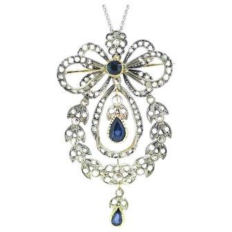 Victorian Diamond Sapphire Bow Pendant / Brooch