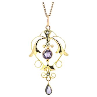 Edwardian Amethyst and Seed Pearl Pendant
