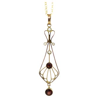 Edwardian Garnet and Seed Pearl Gold Pendant