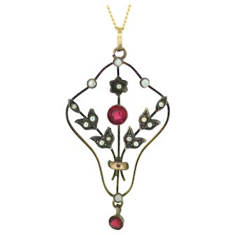 Edwardian Garnet and Seed Pearl Pendant
