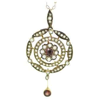 Art Nouveau Style Garnet and Seed Pearl Gold Pendant