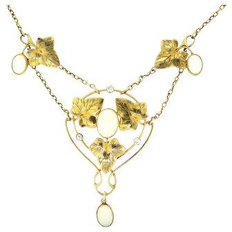 Vintage Merle Bennett Opal Diamond Necklace