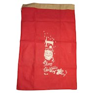 HUGE Vintage 1950s Santa Claus MERRY CHRISTMAS Gift Sack Bag Stocking 23X36