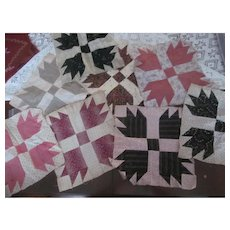 Lot of 8~Antique 1890s Handmade BEAR Paw Quilt Blocks 12x12~Estate Fresh!!