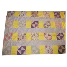 BROKEN DISHES Vintage Yellow Patchwork Quilt TOP~Cotton Feedsack Print~Hand Sewn