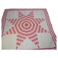 "Pink & White Vintage TEXAS STAR Lone Star Quilt~Hand Quilted 80""~VG Cond!"