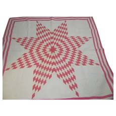 """Pink & White Vintage TEXAS STAR Lone Star Quilt~Hand Quilted 80""""~VG Cond!"""
