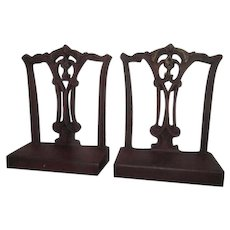 Pair Bradley & Hubbard Chippendale Chair Back Cast Iron Bookends c1920 B&H