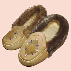 Baby Childs Vintage Leather Indian Moccasin Slippers w/Beading & Fur Trim