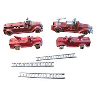 Lot of 4~Vintage TOOTSIETOY Fire Truck Water Tanker Cannon w/3 Ladders