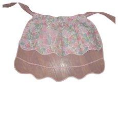 Reversible~Adorable Vintage Half Apron Pink Floral & Organdy