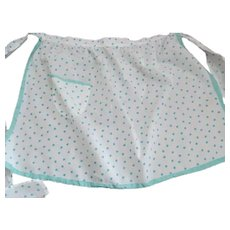 Entirely Hand Sewn Vintage Half Apron~Turquoise Polka Dots on White~Ribbon Edges