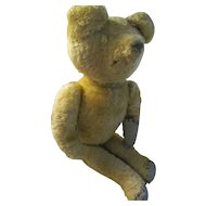 """Primitive Antique Early Golden Jointed Teddy Bear~Straw Stuffed Much Loved 16"""""""