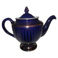 Cobalt Blue Vintage HALL China Teapot w/ Gold Decoration