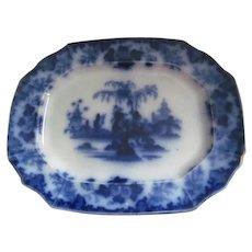 "SCINDE Antique Flow Blue Platter 13.75""~Oriental Stone c1845 J&G Alcock England"