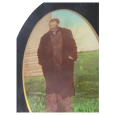 Unusual HOBO TRAMP VIntage Standing Oval Tinted Celluloid Metal Tin Button Photo 1920s