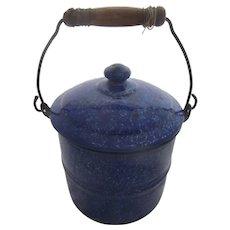 Primitive Vintage Graniteware BERRY BUCKET Pail Wood Handle~Blue White Speckled Enamelware