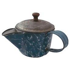 Vintage Graniteware TEA STRAINER Cup w/Spout~Blue White Swirl Enamelware